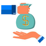 Human hand gives money bag to another person. Payment banking poster vector illustration Stock Photos