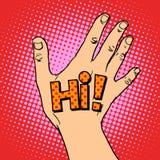 Human hand greeting hi Royalty Free Stock Image
