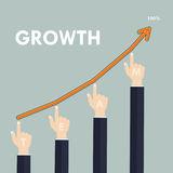 Human hand and growth graph icon on background.Concept of the te. Amwork for successful business.Flat design vector illustration Stock Images