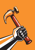 Human hand with hammer. Human hand with a hammer isolated vector illustration Royalty Free Stock Photos