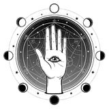 Human hand has an all-seeing divine eye. Alchemical circle of transformations. Background - the night star sky, phases of the moon. Vector illustration Stock Photography