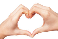 Human hand heart. Isolated on a white background royalty free stock image