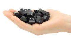 Human hand held computer keyboard keys stock images