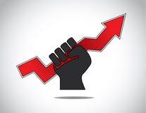 Human hand hold progress arrow success concept Stock Images