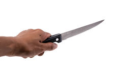 Human hand hold small kitchen knife Stock Photo