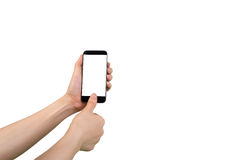Human hand hold smart phone, tablet, cellphone with blank screen on isolate white background. Human hand hold smart phone, tablet, cellphone with blank screen stock photo