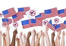 Human hand holding American flag royalty free stock photos