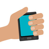 Human hand holding black smartphone,  graphic Royalty Free Stock Photography