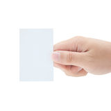 Human Hand Holding A Blank Business Card Royalty Free Stock Photos