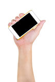 Human hand holding blank mobile smart phone,clipping path Royalty Free Stock Photos