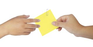 Human hand holding blank notepaper Stock Images