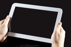 Human hand holding blank touch screen device Stock Photography