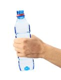 Human hand holding a bottle of water isolated on white Stock Image