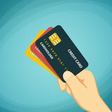 Human hand holding a credit card. Stock cartoon illustrat Royalty Free Stock Photo