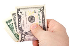 Human hand holding dollars Royalty Free Stock Photos
