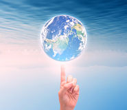 Human hand holding Earth planet. Elements of this image are furn Stock Photo