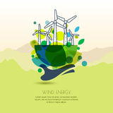 Human hand holding earth with wind turbines. Vector outline illustration of windmill. Royalty Free Stock Image