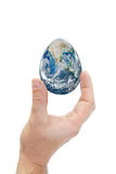 Human hand holding egg shaped planet earth. Royalty Free Stock Image