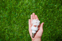Human hand holding energy saving lamp close up royalty free stock images