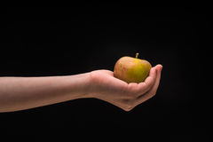 Human hand holding a green apple on a black background Stock Image