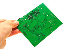 Human Hand Holding Green Computer Circuit Board Stock Photography
