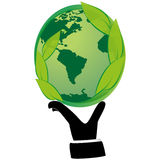 Human hand holding green globe with leaves. Stock Photo