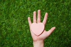 Human hand holding heart Stock Photos