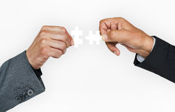 Human Hand Holding Jigsaw Puzzle Connection Corporate Business Stock Image