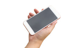 Human hand holding large screen mobile smart phone. Royalty Free Stock Images