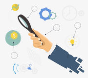 Human hand holding magnifying glass. Analysis, exploration, and business items. Flat design graph-ic elements Stock Photos