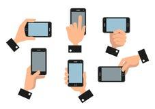 Human hand holding mobile smart phone Stock Image