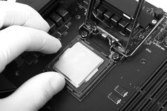 Human hand holding modern processor Stock Image