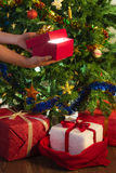 Human hand holding open gift Stock Image
