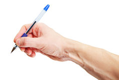 Human hand holding pen isolated on white background Stock Images