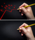 Human hand holding pencil and draws. Set of two images of human hand holding pencil and draws. One image shows hand on empty paper, the other shows hand drawn Royalty Free Stock Photography