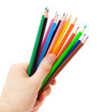 Human hand holding pencils Stock Images