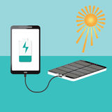 Human hand holding smartphone charging connect with solar powerb Stock Photo