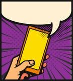 Human hand holding smartphone. Vector comics illustration style Stock Photos