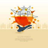 Human hand holding sun with solar battery. Vector outline illust Stock Photography
