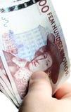 Human hand holding swedish money Royalty Free Stock Photos