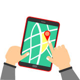 Human hand holding tablet with map. Showing a business site or location royalty free illustration