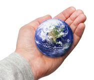 Human Hand Holding the World in Hand Stock Image