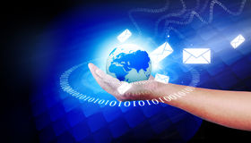 Human hand holding the world. World telecommunication technology on hand concept Royalty Free Stock Photo