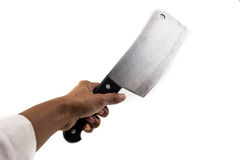 Human hand holds butcher knife or cleaver isolated on white Stock Photography
