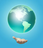 Human hand holds a planet earth. 3D image vector illustration