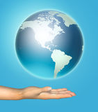 Human hand holds a planet earth. 3D image royalty free illustration