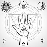 Human hand holds a sacred pyramid of knowledge, an all-seeing eye. Symbols of the moon and sun, alchemical circle of transformatio. Ns. Vector illustration Stock Image