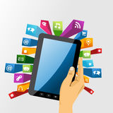 Human hand holds tablet pc with app icons. Royalty Free Stock Photography