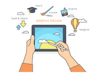 Human hand holds a tablet pc and draws a picture on the screen Royalty Free Stock Photo