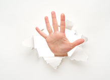 Human hand in hole in white empty paper poster Stock Images